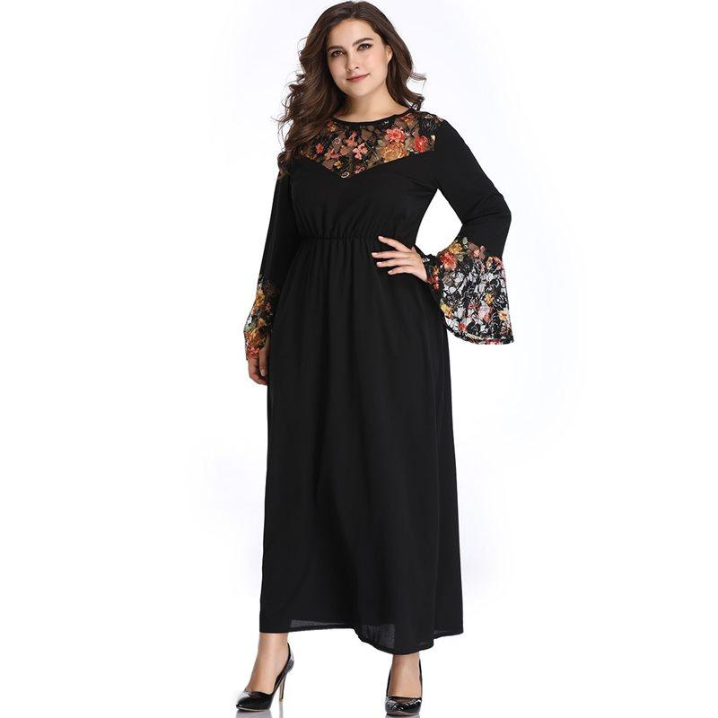 Spring 2019 Plus Size Maxi Dress Women Floral Print Chic Fashion Robe Elastic Waist Soft Sexy Elegant Ladies Street Day Dresses