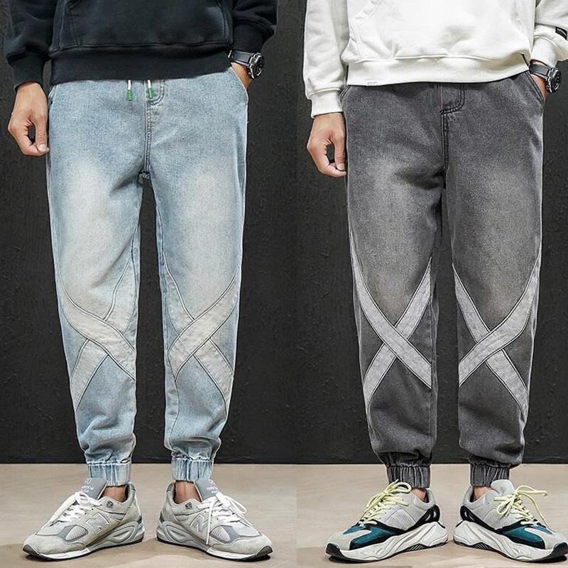 남성 청바지 Streetwear Hiphop 개성 남성 측면 X 패턴 패션 남성 파괴 스키니 2 색 데님 바지