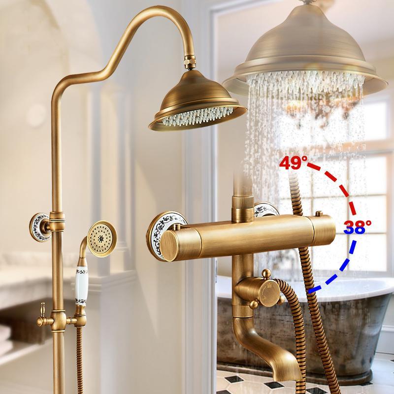 Ducha de latón antiguo grifos montados en la pared de la ducha termostática grifo mezclador Manija doble Con la barra de diapositiva de la ducha para el baño
