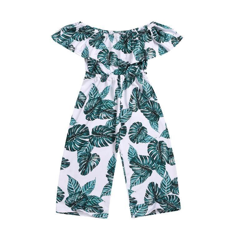 Vente en gros Printemps Automne nouvelle feuille de Lotus enfants vêtements concepteur filles impression feuille d'épaule épaule bébé fille vêtements de créateurs BY1007