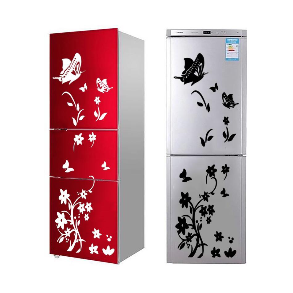 DIY borboletas adesivo de geladeira flor art sticker adesivo de parede para decalques da parede do refrigerador para crianças sala de estar decoração do quarto 2019