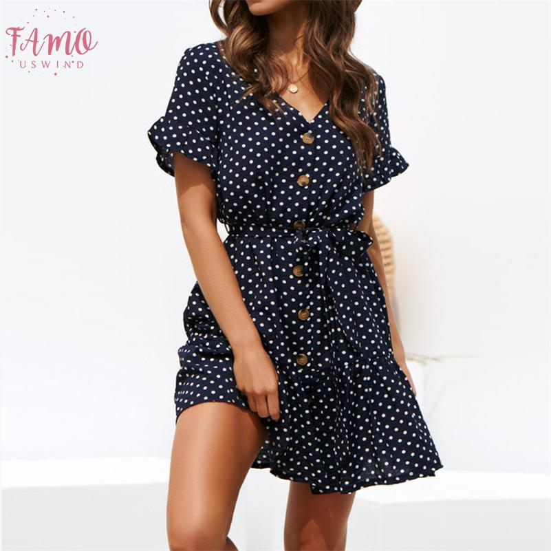 Kadınlar Yaz Plaj Şifon Elbise Günlük Kısa Kollu Polka Dot Boho Mini Parti Elbise Şık V Yaka Sundress vestidos