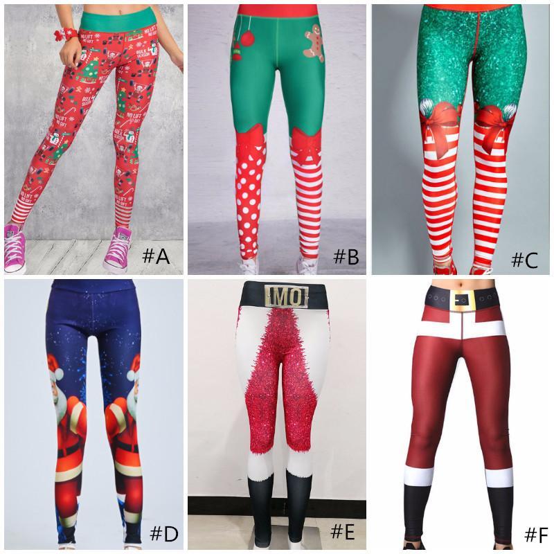 Woman Christmas 3D Printed Cartoon Leggings Girl Tight Skinny Elastic Leggings Fitness Xmas Pants Sports Yoga Pants Trousers