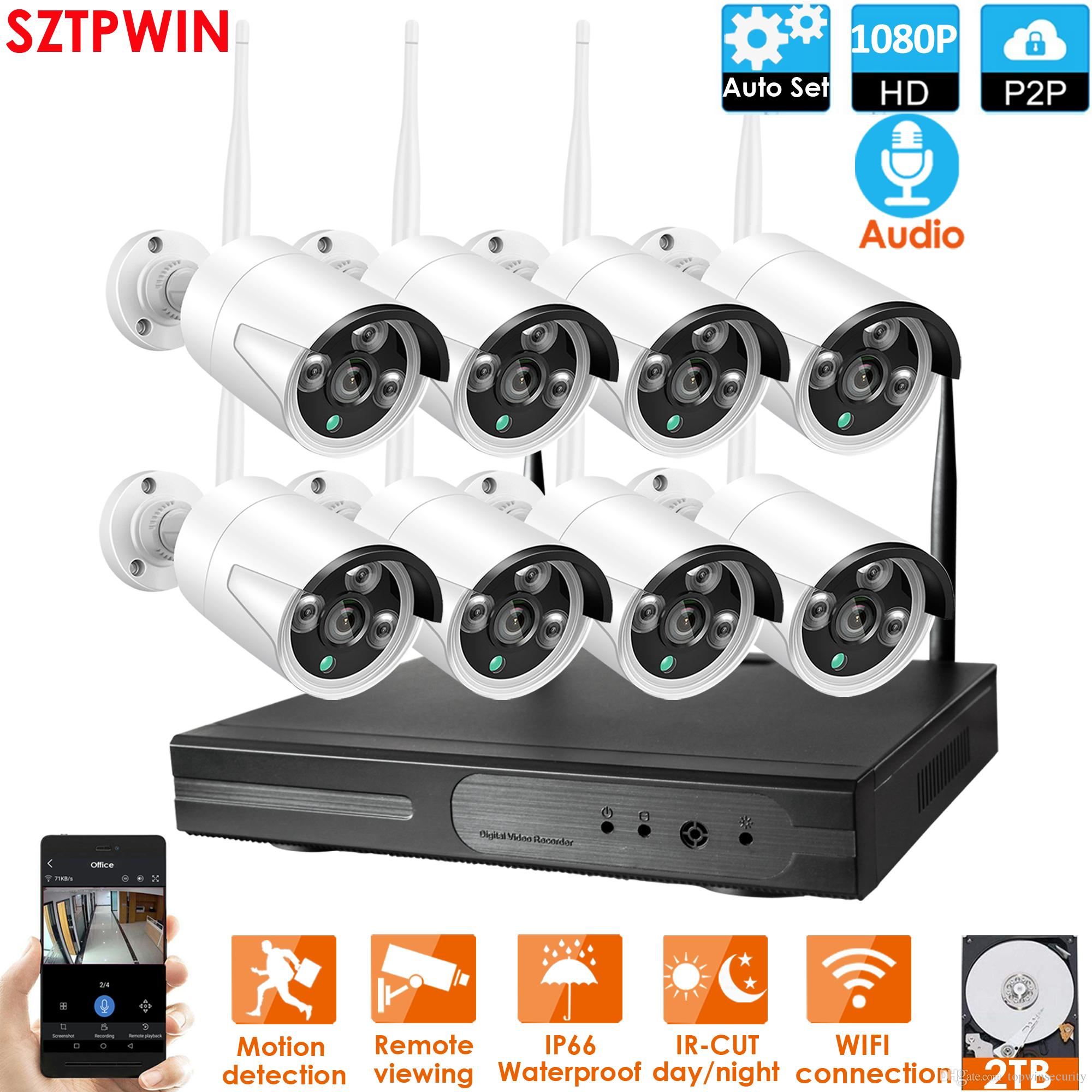 8CH Audio CCTV System Wireless 1080P NVR 8PCS 2.0MP IR Outdoor P2P Wifi IP CCTV Security Camera System Surveillance Kit