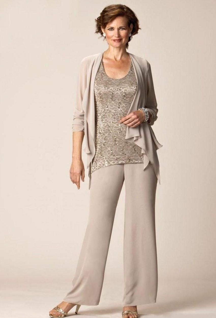 Mãe da calça da noiva ternos longas mangas chiffon jaqueta lace top três peças noivo vestido de mãe vestido de festa