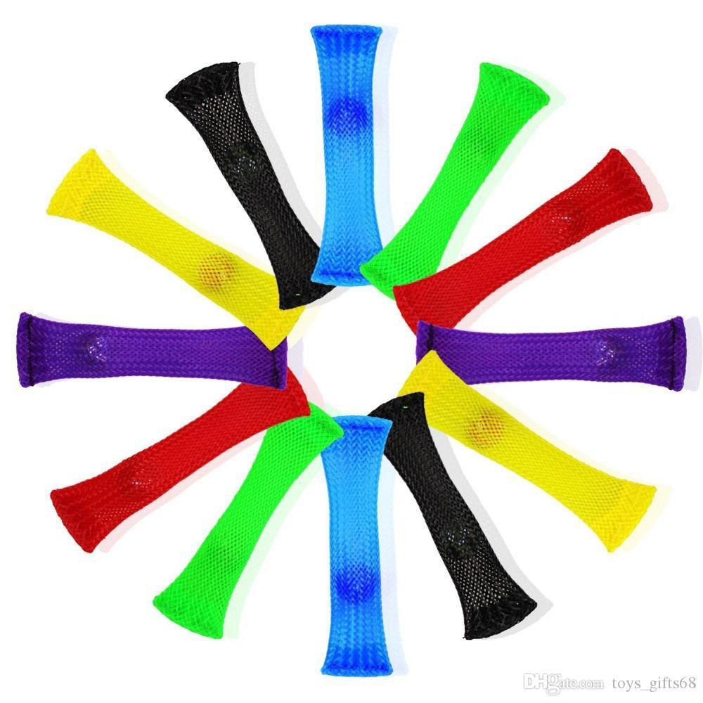Nuovi giocattoli di decompressione del tubo della maglia tessuta Fidget Spremere giocattolo Griglia della cinghia di marmo La compressione del marmo immediatamente allevia lo sforzo per i bambini sensoriali