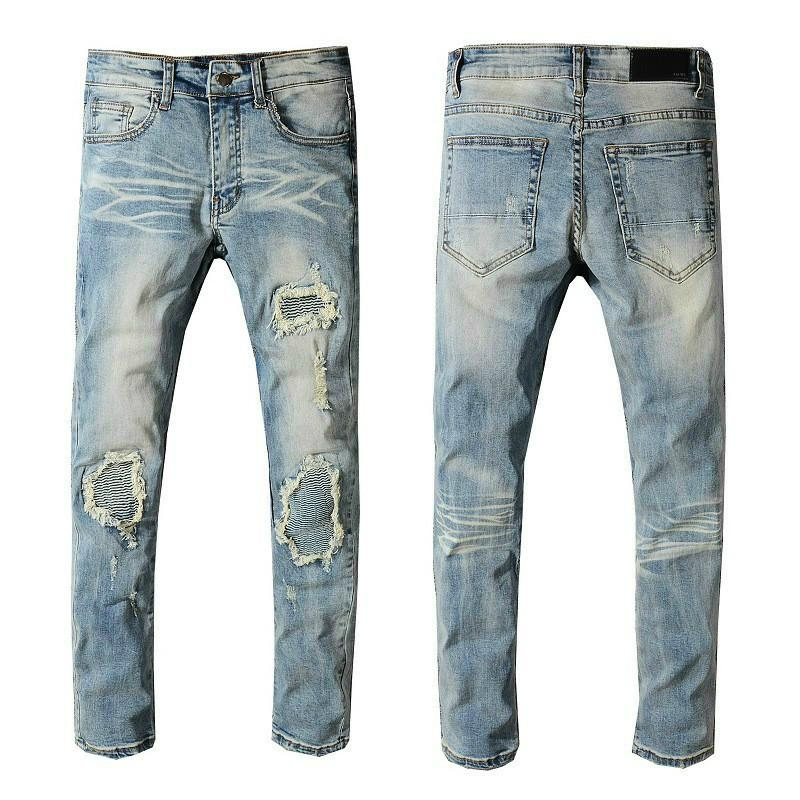 2020 Mens Designer Jeans High Quality Brand Denim Slim Embroidered Pants Fashion Ripped Trousers Europe and America Street with Logo #544