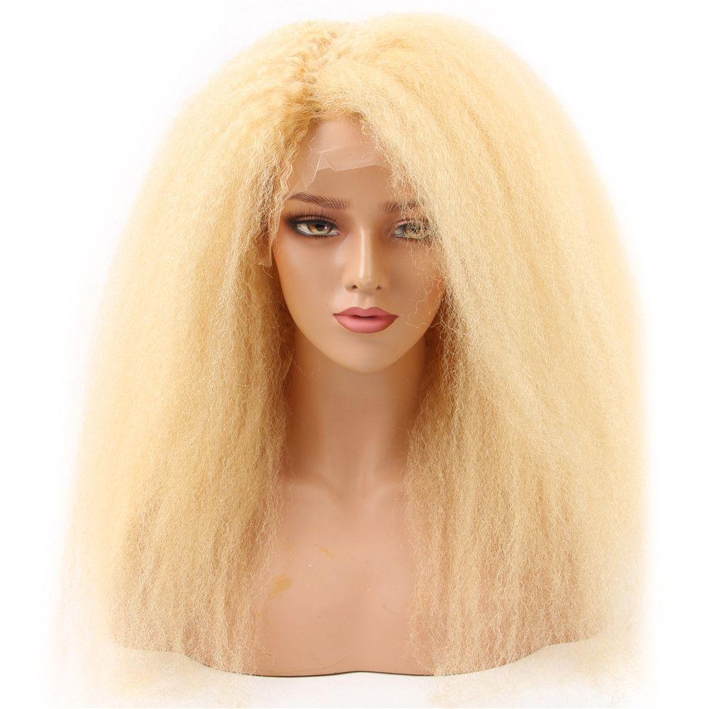HC 613 Lingt Blonde Kinky 스트레이트 레이스 프런트 가발 브라질 버진 원시 인간의 머리 가발 13 * 4 투명한 레이스 150 % 밀도 페루 KS 63
