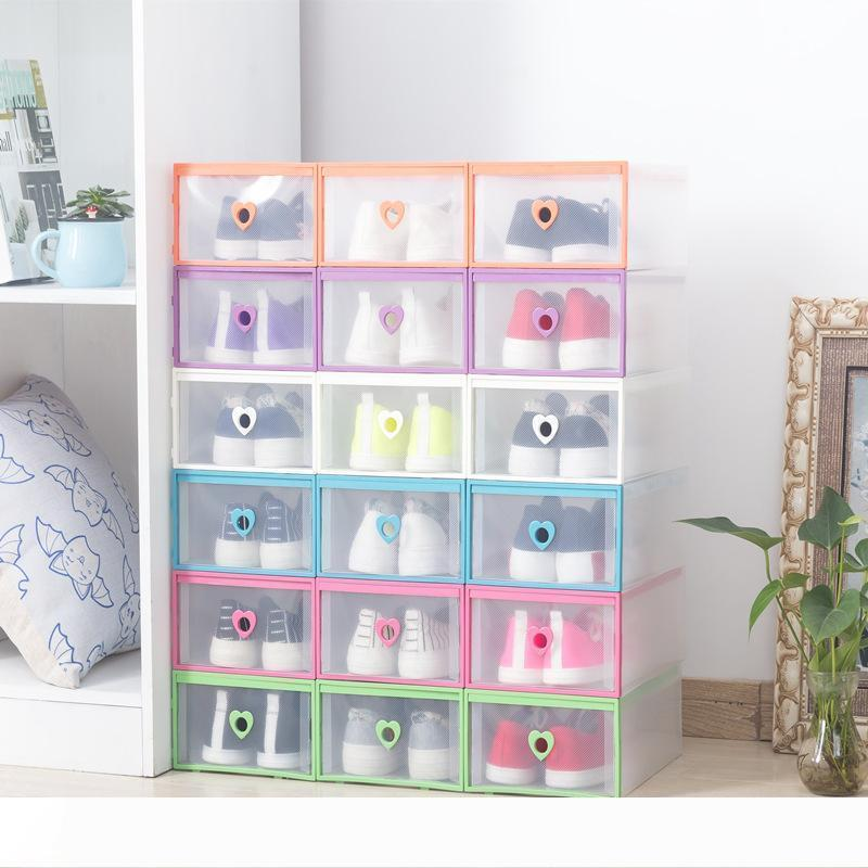A Drawer Type Transparent Shoe Box Thickening Plastic Wrapping Stroage Box Stackable Foldable Cost Effective Rectangle Bins Hot Se