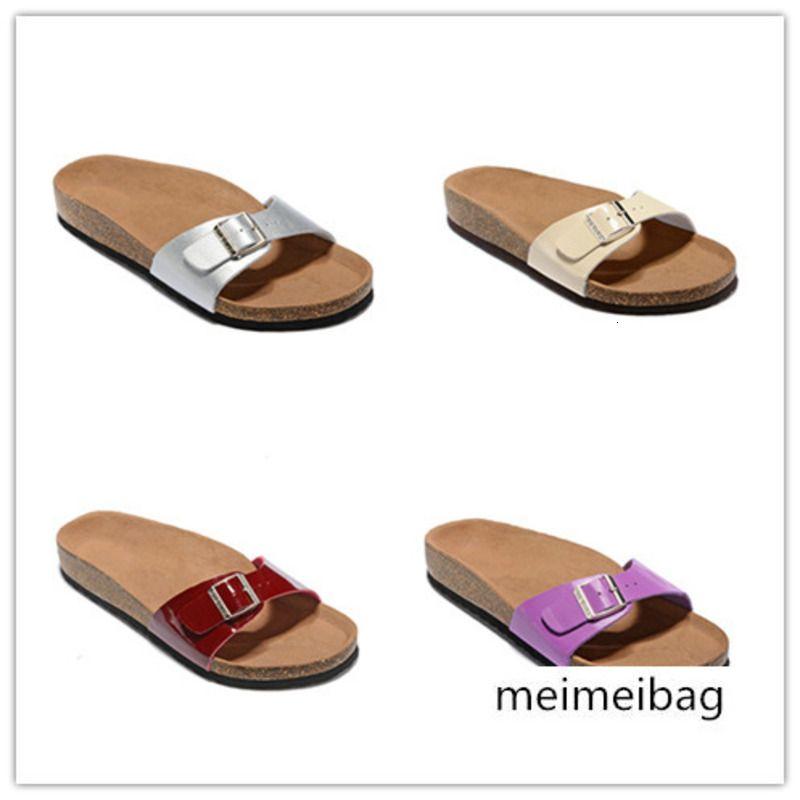 Высокое качество Марка Мадрид натуральная кожа тапочки для мужчин женщин Оптовая квартиры Корк сандалии с пряжкой лета пляжная обувь