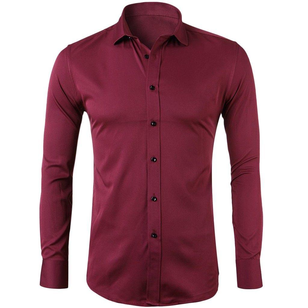 Homens Casuais Camisas Homens Camisa Botão Sólido Manga Longa Cottton Girl-Down Collar T-shirt Alta Qualidade Macho Negócio Moda Moda Top Blusa