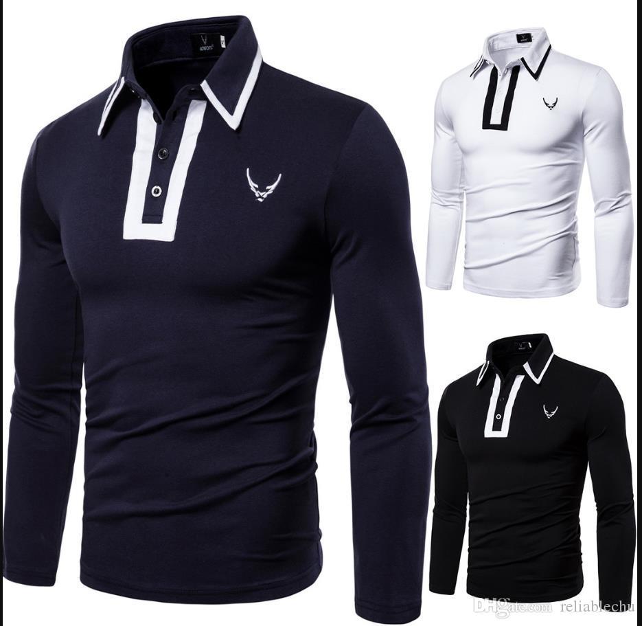 MS Hommes T-shirt Code européen Polo nouvel automne européen et revers à manches longues T-shirt américain de T-shirts hommes de broderie LOGO bateau libre YT041