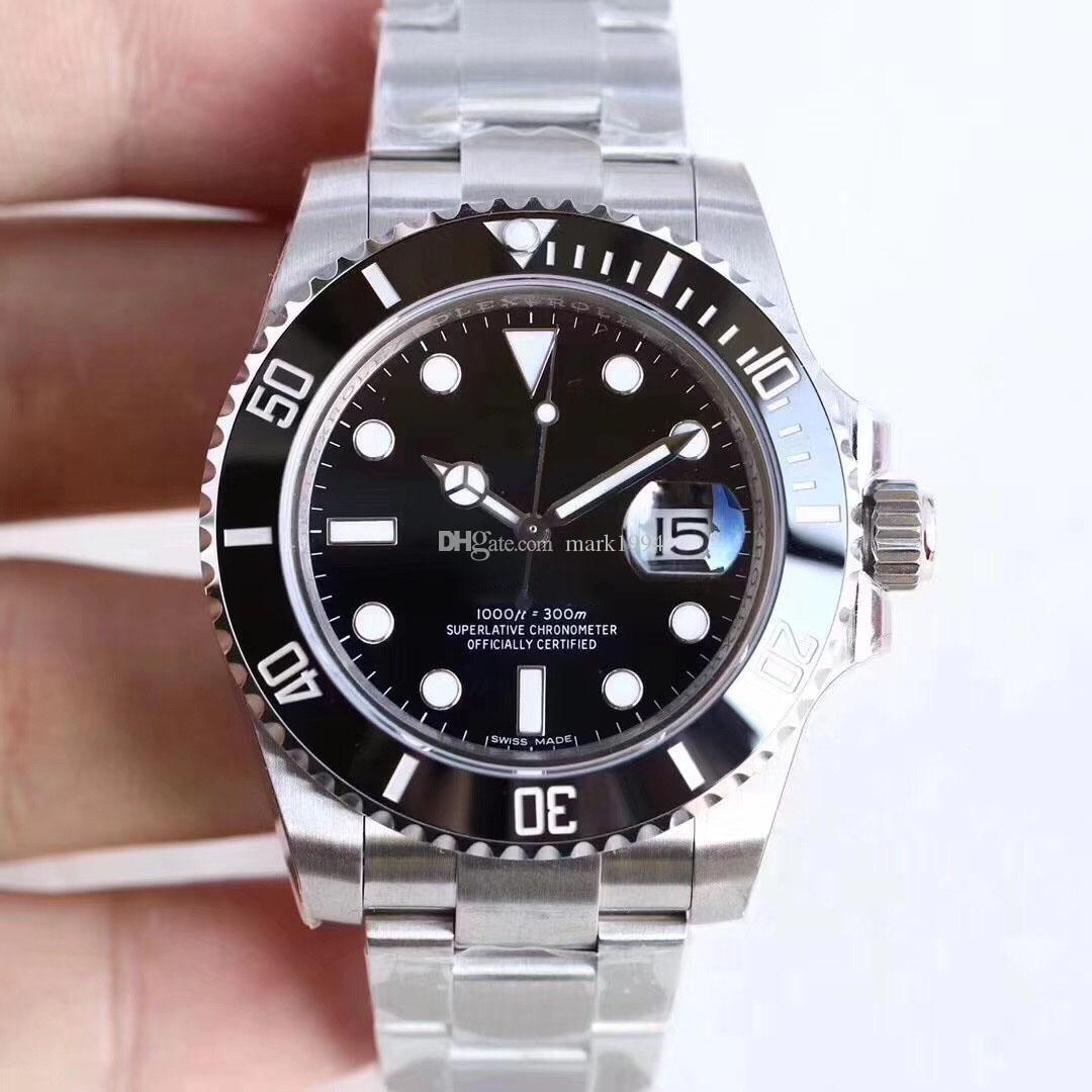 U1 завода Горячей Продажа Наручные часы Сапфир черные керамический ободок из нержавеющей стали 40 мм 116610LN 116610 Автоматических механических часы Мужских часов