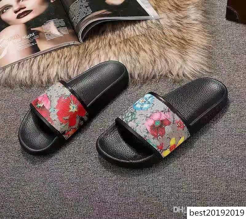 2020 Designer gomma scorrevole sandalo broccato floreale uomini ingranaggi fondo Infradito donna a strisce della spiaggia causale pantofola con la scatola