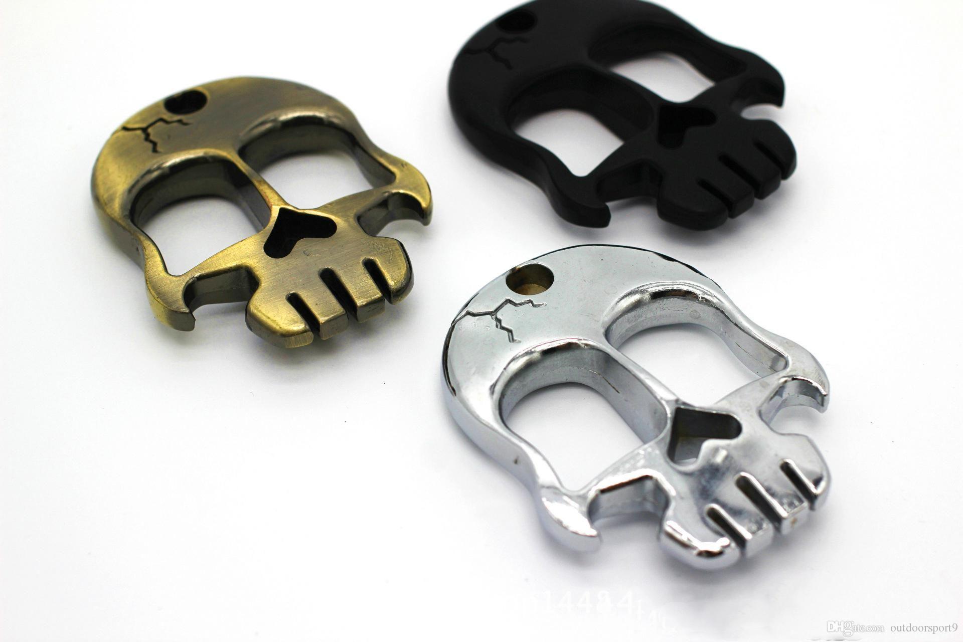 laiton crâne jarret outil équipement de protection plumeaux Autodéfense autodéfense doigt sécurité personnelle coups de poing américains suspendus