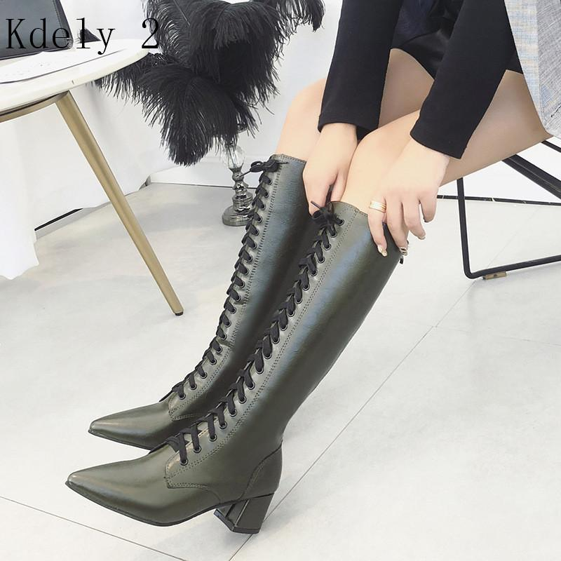 New Womens Square Low Heel Riding Motorcycle Heel Knee High Boots Punk Gothic Platform Lace Up Shoes Pointed boots