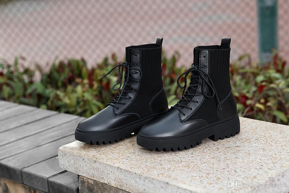 2020 couro quente Platform Martin botas de pelúcia Lace-up Preto Calçados Femininos Waterproof Moda Aumento luxo designer Botas Mulheres 36-40