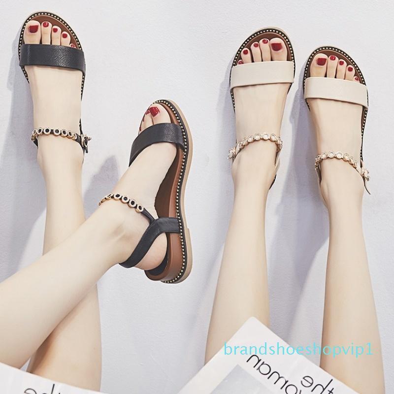 Crystal2019 Mulher Flange Sandals Student Flat Shoes Shoes de couro genuíno Joker Tempo Lazer Mulheres