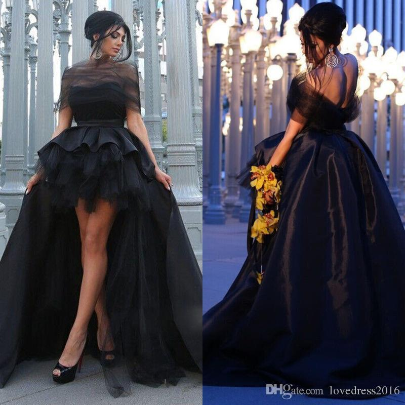 Vendita calda 2019 High Low Ruched Tulle Satin Prom Dresses Off spalla Sexy Backless A Line Abiti da sera formale