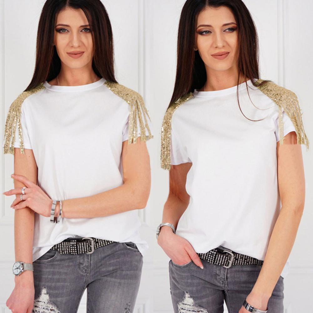 Fashion Women Tassel Sequin O-Neck Short Sleeve T-shirt Tops Casual #4M03 Street Wear Women Clothes Hot Slim Fit Pretty