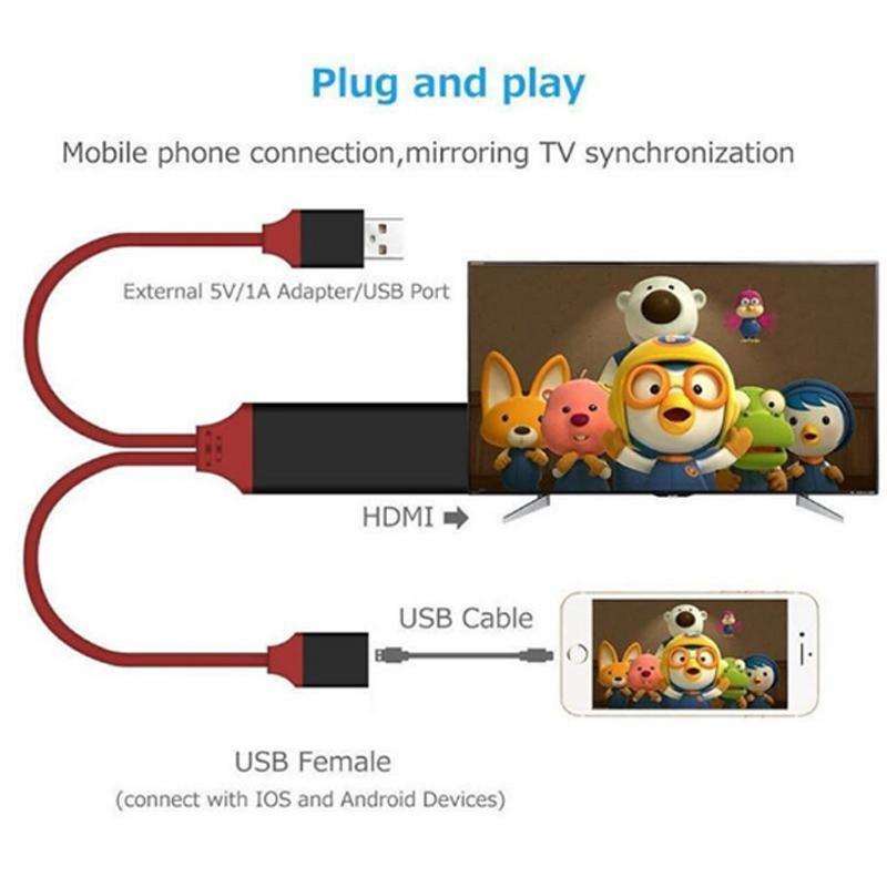 Evrensel HDMI Kablo Fişi ve Oynat HDMI HDTV TV Adaptörü Dijital AV Kablosu 1080 P TV'ye TV'ye USB 2.0 C Tip C Micro 5Pin Aydınlatma 1m