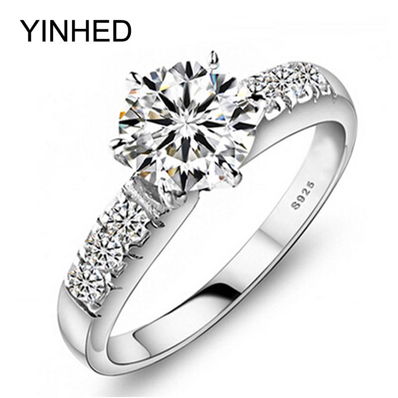 Yinhed Orijinal 100% Kadınlar Için 925 Ayar Gümüş Alyans Lüks 1 Karat Cz Diamant Nişan Yüzüğü Moda Takı Zp68 J190718