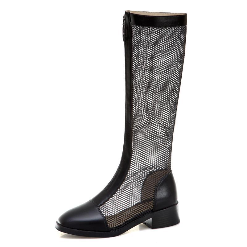 الكعوب الركبة الصيف أحذية عالية المرأة شبكة انقطاع طويل ساحة أحذية زيبر ساحة أحذية تو أنثى الربيع زائد حجم 33-43