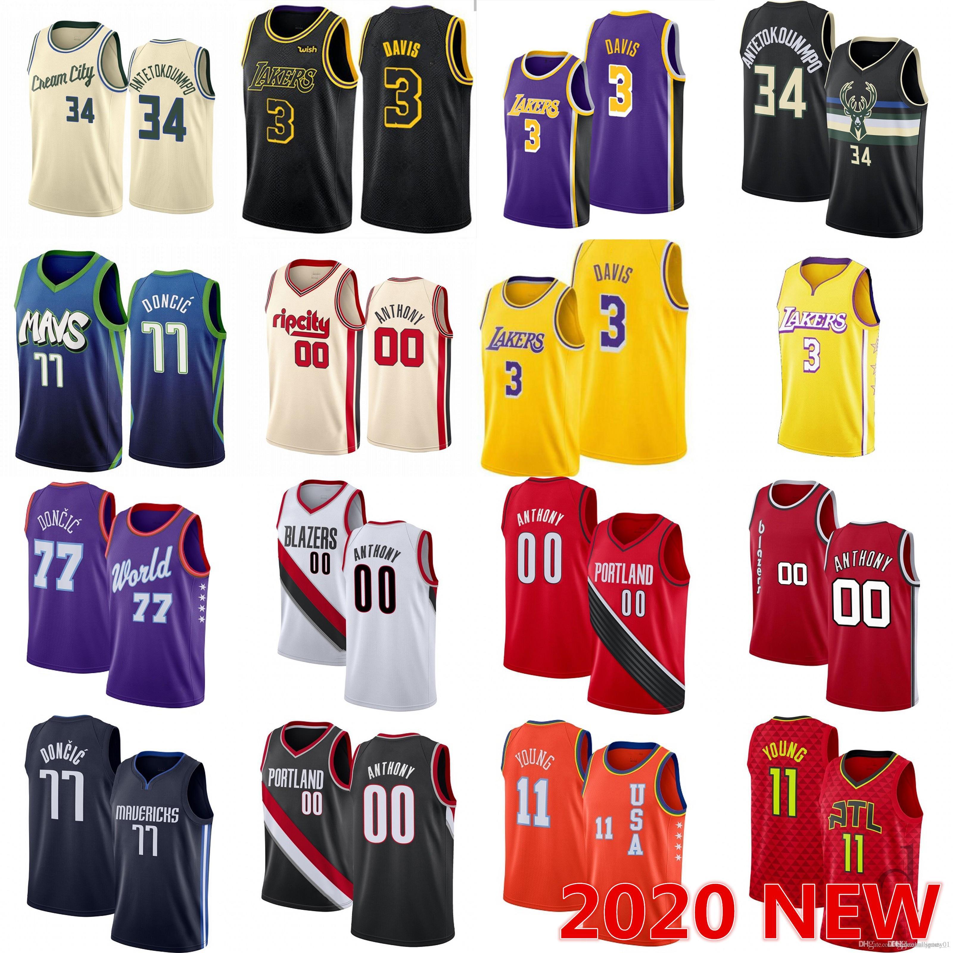 nbspBucks Carmelo 00 Anthony 3 Davis Giannis 34 Antetokounmpo Formalar Luka 77 Doncic 11 Genç 2 Gigi Koleji Erkekler NCAA Basketbol Forması