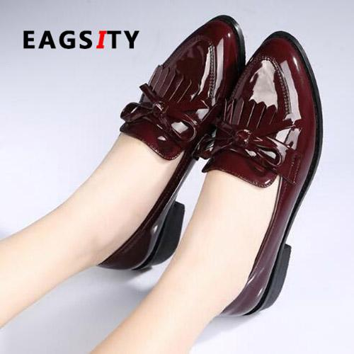 Designer Dress Shoes Fashion tassel Fabric Leather Women square heel pointed toe slip on block heels ladies silver penny loafers