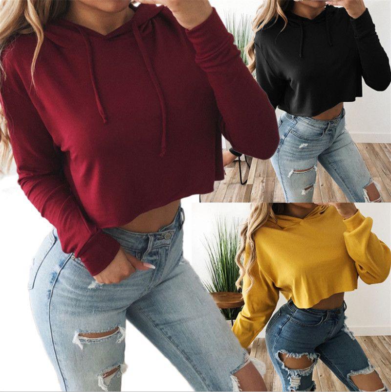Мода женщины сплошные цветные толстовки с длинными рукавами эластичные талии шоу живота короткие уютные спортивные бегущие толстовки популярный причинно-следственный урожай