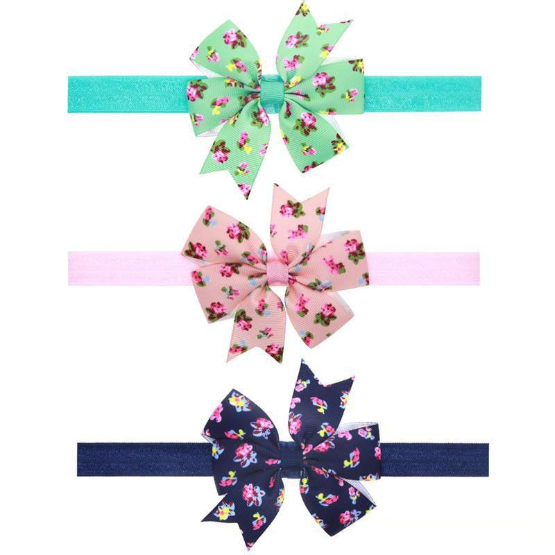 Baby Girls Diademas Lazos Niños bowknot floral Hairbands Niños Bunny Ear Diadema de algodón Recién nacido Bowknot Accesorios elásticos para el cabello