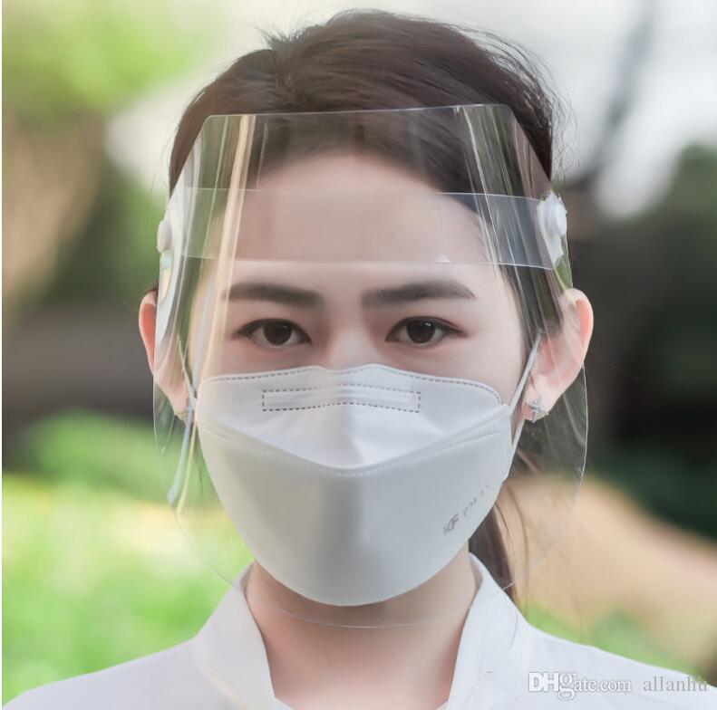 Im Lager Maske transparente Schutzschicht volles Gesicht Anti-Fog-Schutzmasken spritzen Hut Erwachsener Gesichtsmaske Regen Kochen Gesichtsabdeckung FY8015 Reiten