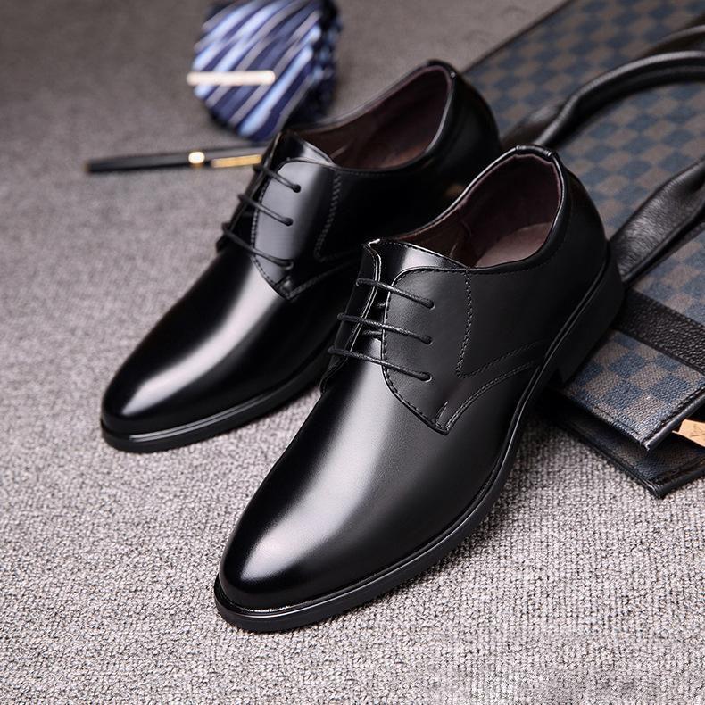 Мужские деловые туфли моды Корейская повседневная обуви мужской черной британский вокруг головы галстук банкетного профессионального мужской обувь