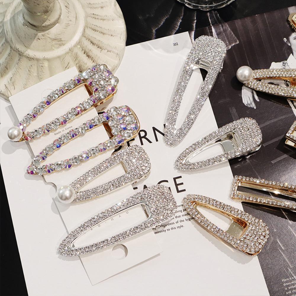 Xugar accesorios para el cabello de diamantes de imitación de cristal horquillas para niñas brillante geométrico rectángulo gota de agua pinzas para el cabello para las mujeres