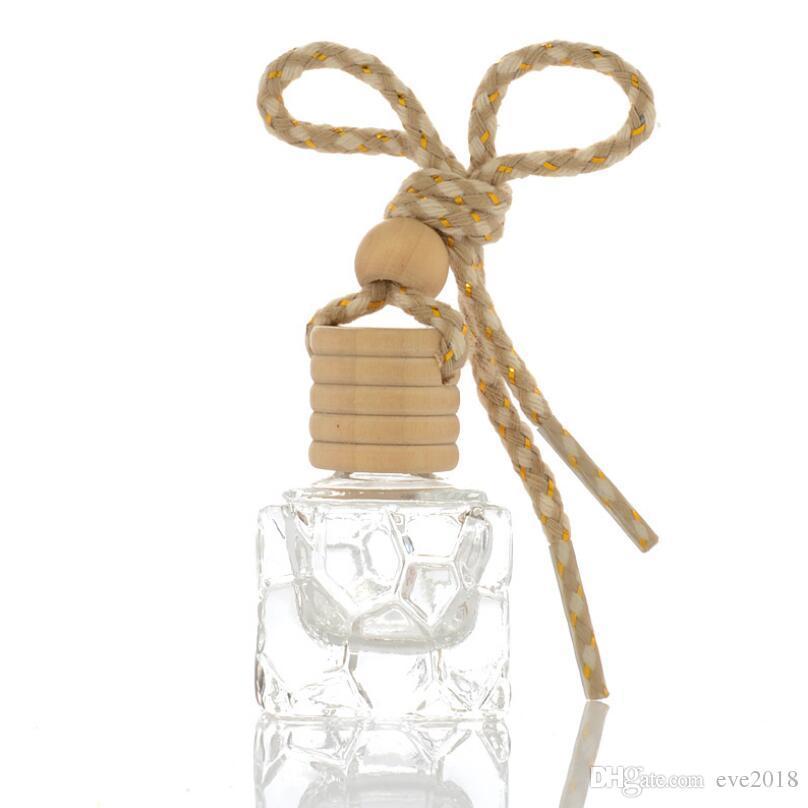 Atacado 10 ml Carro Pendurado Garrafas de Perfume Acessórios Do Carro Pingente De Vidro Quadrado Vazio Cosméticos Recipiente Embalagem de Perfume LX6662