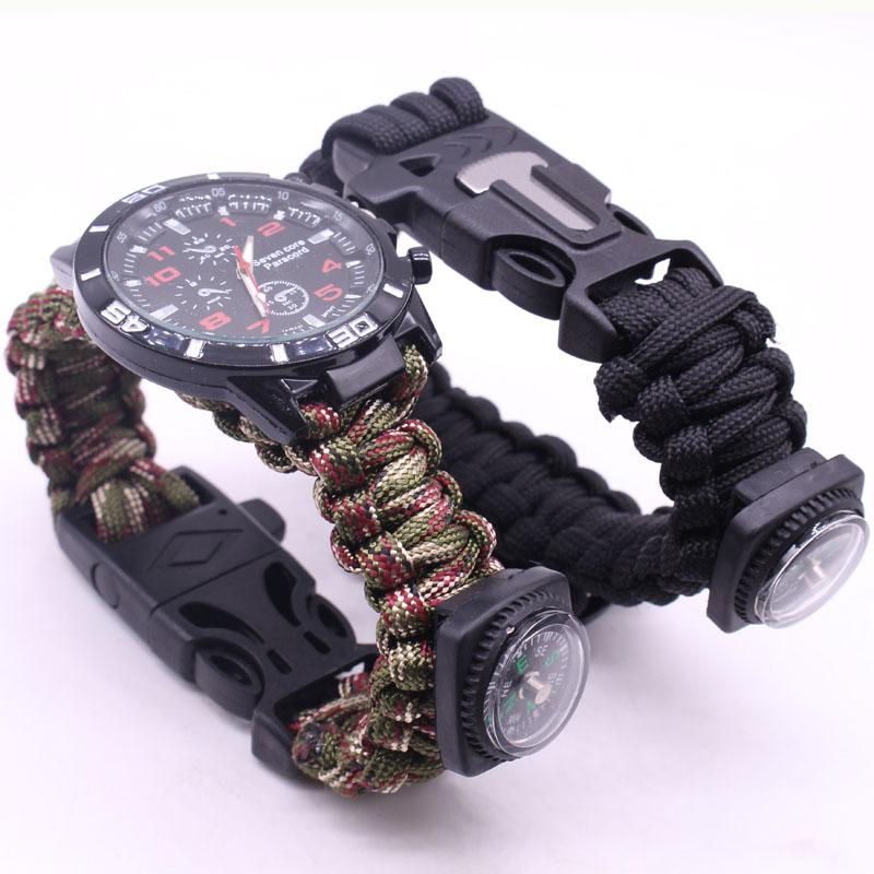 EDC Multi Tools Tactical Camouflage Outdoor survival watch bracelet compass Rescue Rope paracord Camping equipment (18)