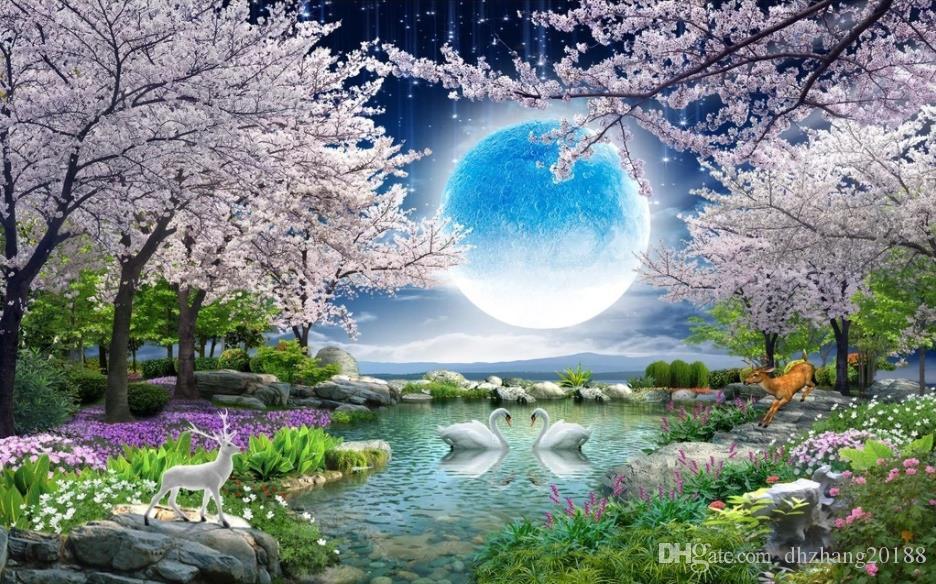 아름다운 풍경 배경 화면 달빛 아름다움 달 꽃 좋은 달 라운드 벚꽃 풍경 그림 TV 배경 벽