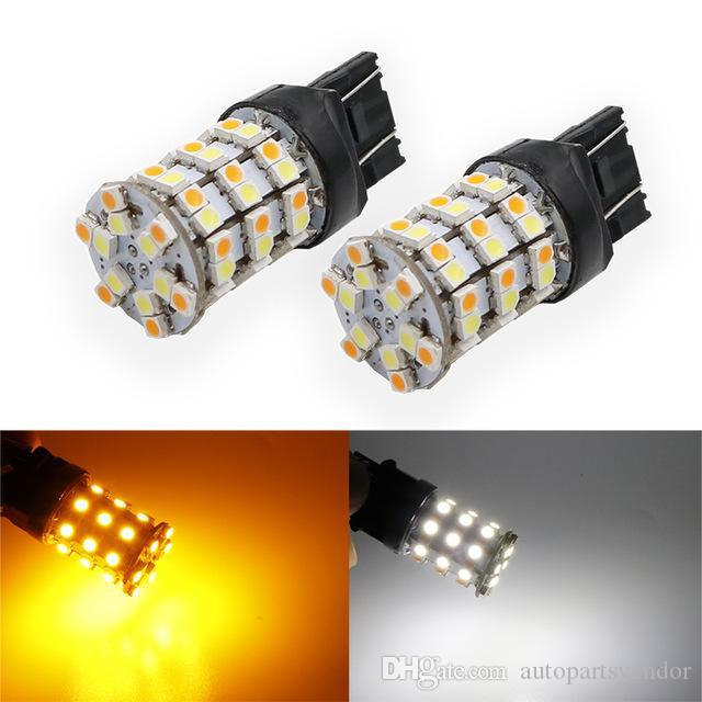4XT20 60SMD 1210 7443 듀얼 컬러 스위치 백 LED 전구 턴 시그널 / 브레이크 / 테일 LED 전구