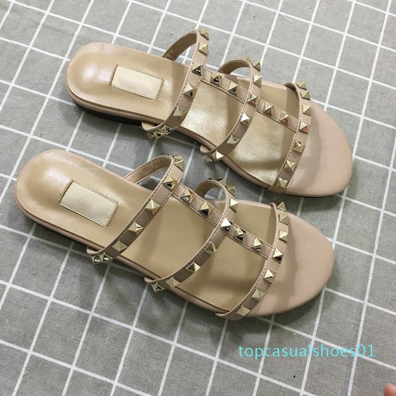 Дизайнерские роскошные женские тапочки новое поступление горячая распродажа заклепки стиль мода стиль Классический качество сандалии размер 35-41 t01