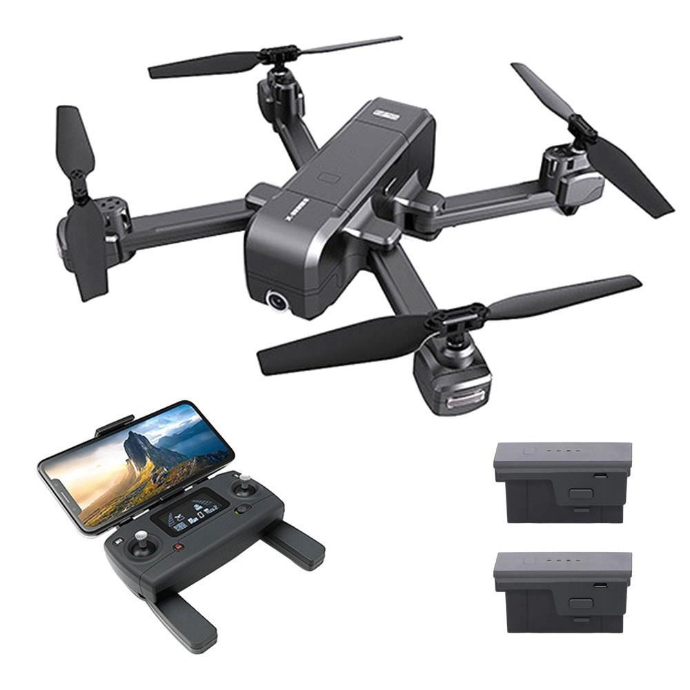MJX X103W 5G WIFI GPS plegable RC Quadcopter con 2K Cámara de un solo eje mecánico del cardán RTF - Tres baterías con bolsa