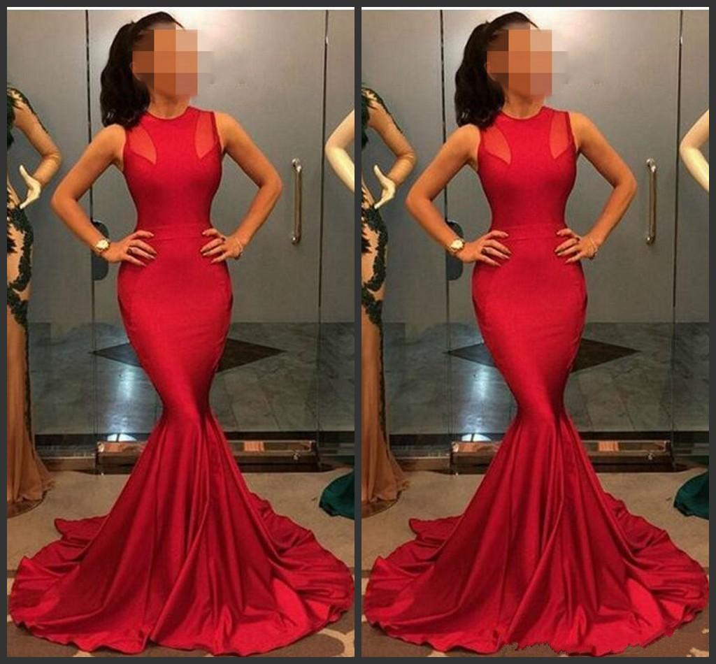 2019 New Evening Gowns Sexy Jewel Sleeveless Sheath Mermaid Formal Red Carpet Prom Dresses Custom Made Rose Red Party Dress