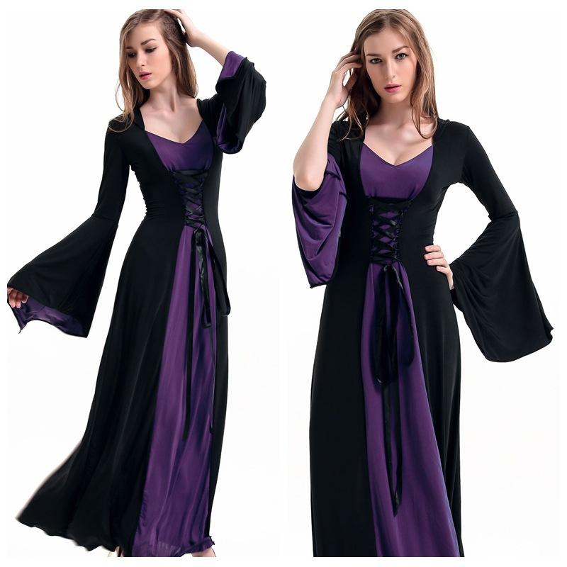 The Medieval Times Abito vintage Dress Sexy Witches Vampire Zombie Costume 2PCS Set Women Halloween Costume Cosplay