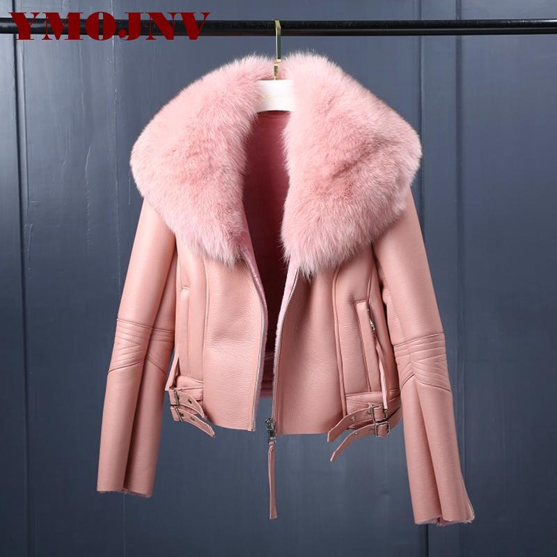 YMOJNV mulheres reais Merino Sheep Fur Jacket Inverno Natural Fur Bomber gola do casaco Genuine Couro Shearing pele de carneiro