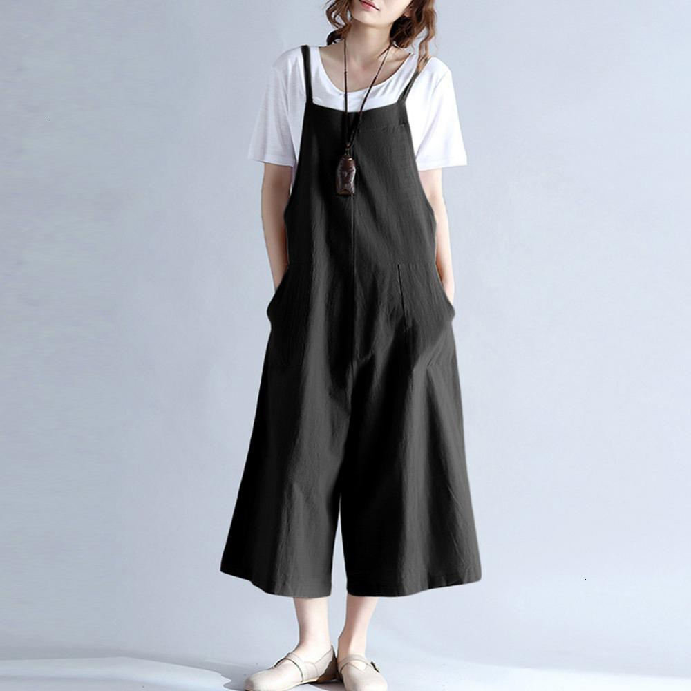 Tute per le donne pagliaccetti per le donne 2019 più il formato tasche Solid lungo gamba larga pagliaccetto cinghietti Salopette casuale tuta pantaloni solidi