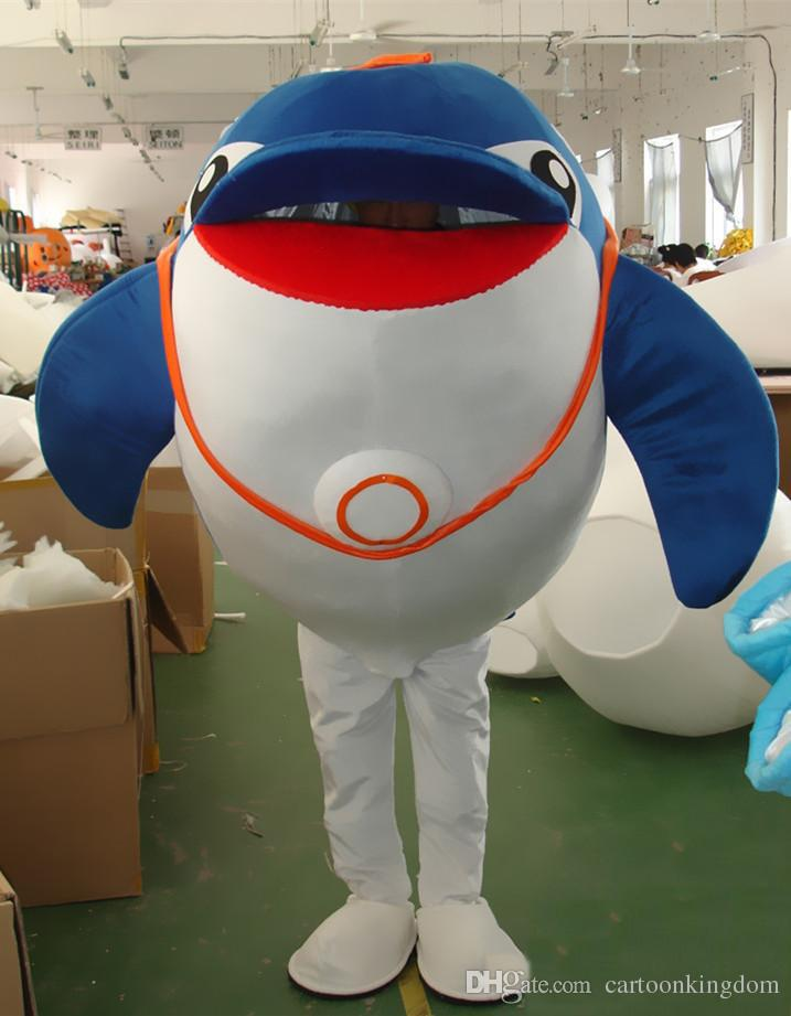 2019 Hot sale Dolphin Mascot Costume Marine Animal Mascot CostumesHalloween Party Outfit Adult Size