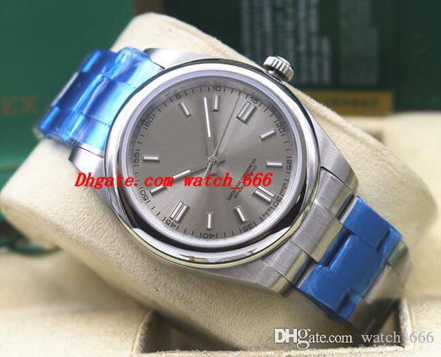 5 стиль роскошные наручные часы 39 мм Браслет из нержавеющей стали Perpetual 116000 177200 114300 родий неношеные полная гарантия мужские часы