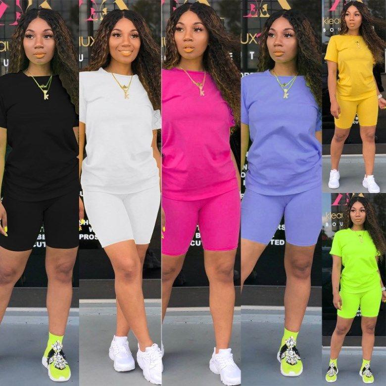 Womens sportswear verão trajes 2 pedaço definido mulheres casuais roupas camisola t-shirt + calças curtas legging pullover + calções klw1342_1