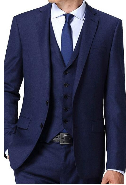 Nuovi arrivi due bottoni blu smoking dello sposo Groomsmen Notch risvolto Best Man Blazer abiti uomo sposa (Jacket Pants Vest pareggio) H: 889