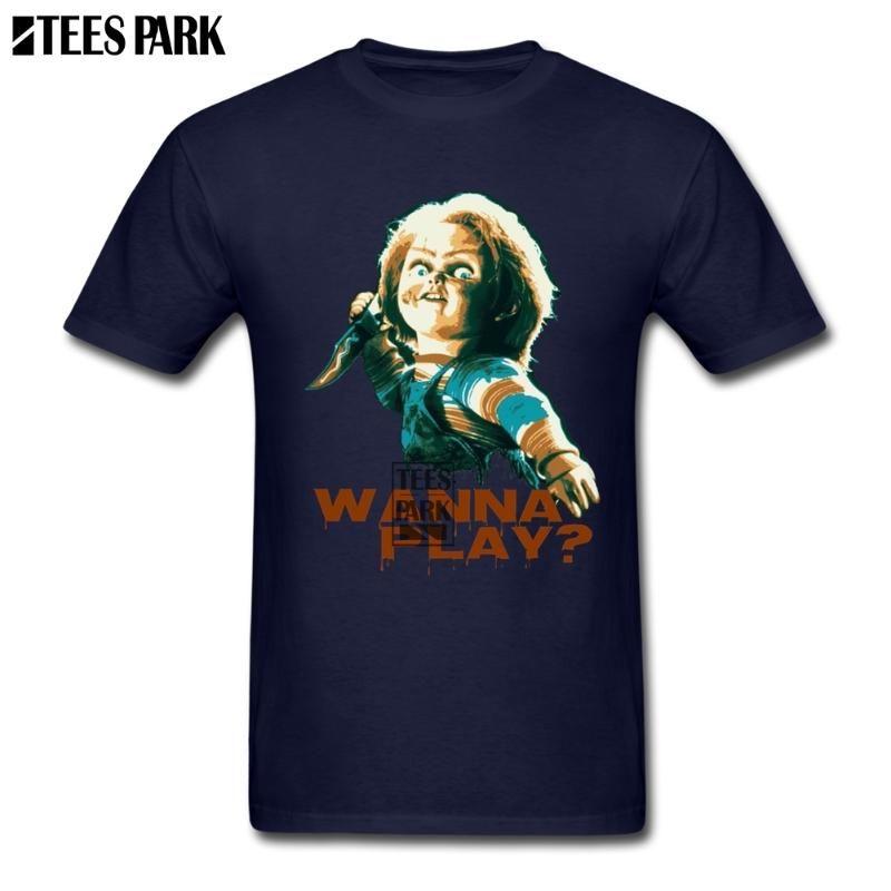 Camisas formales película de terror juego de niños Chucky retro T Shirts Hombre de cuello redondo manga corta camiseta populares adolescente normal de los hombres de