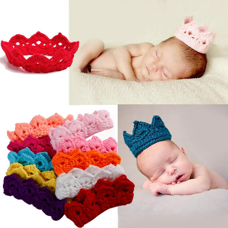 Knitting Crown Newborn Baby Photography Accessories Infant Crochet Hat Headband For Photo Shoot Props Wholesale Kids Caps Baby